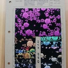 现货供应5085绒面滴塑烫金特殊皮革,金属小花朵图案细绒底布