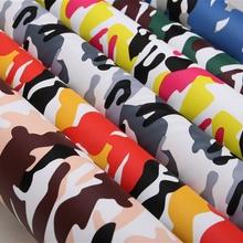 义乌厂家直销新款PVC印花革印迷彩人造革 箱包包装装饰皮料面