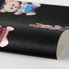 PVC贴膜 数码卡通纹弹力起毛底0.7mm 适用于箱包,鞋革