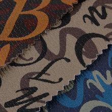新款产品上线 数码打印 三色英文字母 PVC 机织起毛布 0.9mm 可用于;箱包手袋