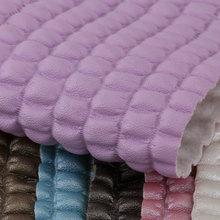 东风皮塑 PVC格子纹 压褶 针织弹力起毛底1.2mm 用于箱包手袋等